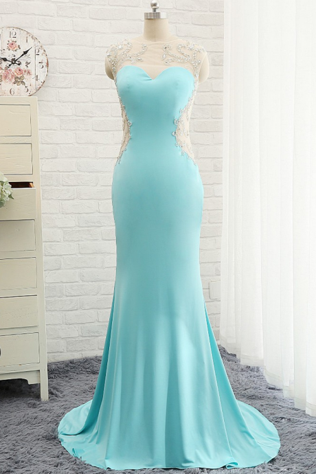 Evening Dresses, Prom Dresses,Modest Prom Dresses,Sexy New Prom Dress,Goregeous Blue Crystal Summer Prom Dresses, Mermaid Long Open Back Evening Gowns