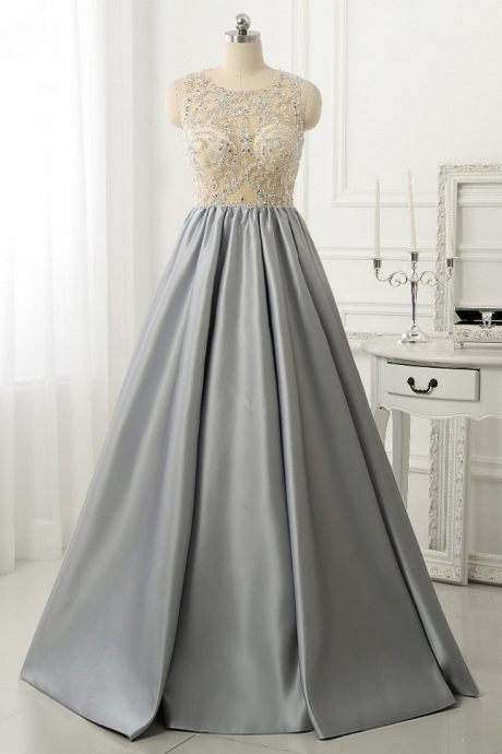 Evening Dresses, Prom Dresses,Modest Prom Dresses,Sexy New Prom Dress,Elegant Sparkly Beads Top A-line Evening Dress, Open Back Stretch Satin Prom Gown