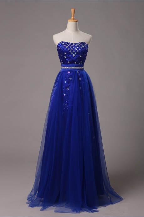 Real Image Prom Dresses Sweetheart Blue In Stock A-Line Off The Shoulder With Piping Exquisite Crystals Floor-Length Satin