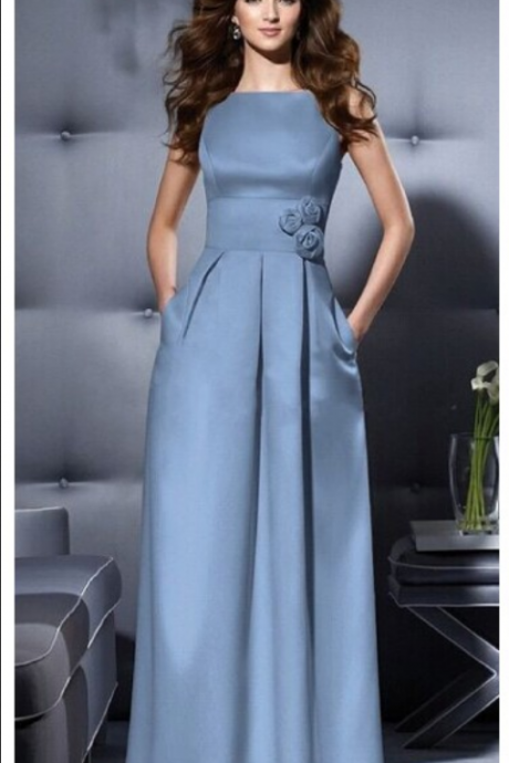 Elegant Evening Dress Cap Sleeve Evening Dress Satin Evening Dress Floor Length Blue Brief Evening Dress