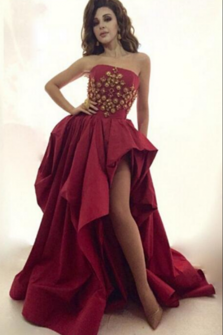 Cheap prom dresses ,Myriam Fares Burgundy Satin Celebrity Dresses High-Low Dubai Arabic Abiye Prom Dress Luxury Pageant Evening Gowns