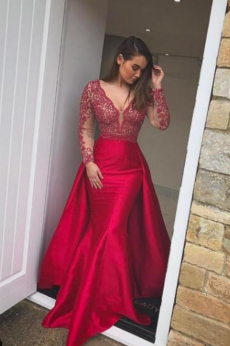 Sexy Prom Dress, Red Mermaid Prom Dresses, Detachable Train Long Evening Dress,