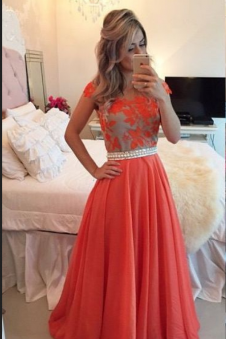 Cheap prom dresses ,orange Prom Dresses,long Evening Dress,mermaid Prom Dress,