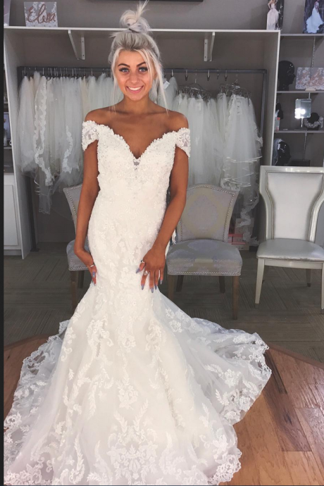 Off the shoulder White Lace Mermaid Long Wedding Dress