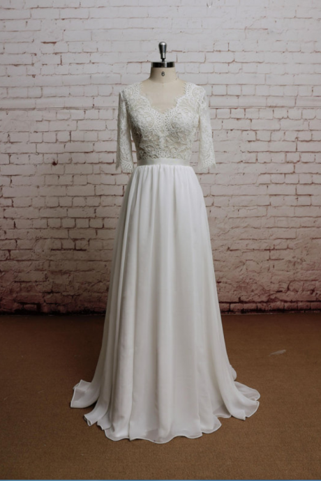 Cheap wedding dresses ,Backless Wedding Dress, Sexy Wedding Dress, Lace Chiffon Wedding Bridal Dress with Waistband, V-neck, 3/4 sleeves Wedding dress