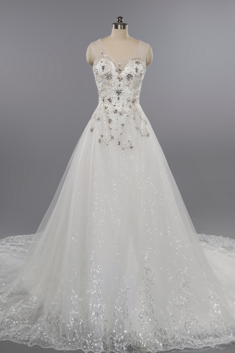 Luxury Dubai Wedding Dress,A-line Lace Applique Sequined Wedding Dresses,Shiny Sparkly Wedding Gown
