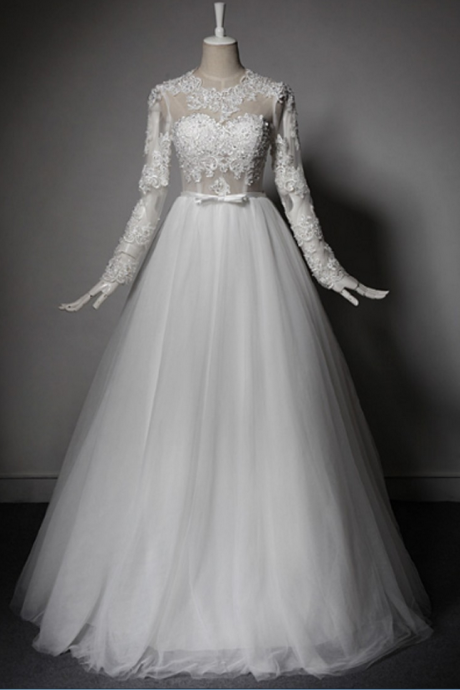 Tulle Lace Long Sleeve Backless Wedding Dress Wedding Dresses