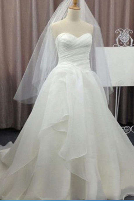 Simple Elegant Sweetheart White Chiffon Wedding Party Dresses, Cheap Bridal Gown,