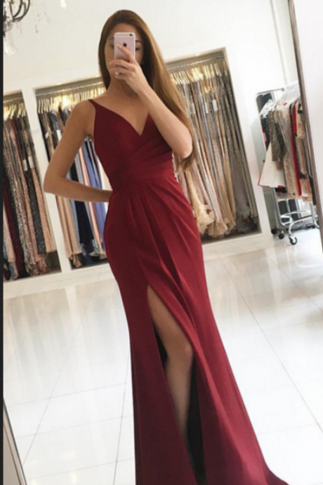 Burgundy Evening Dresses, Simple Pleated Evening Dresses,Slim Party Dress