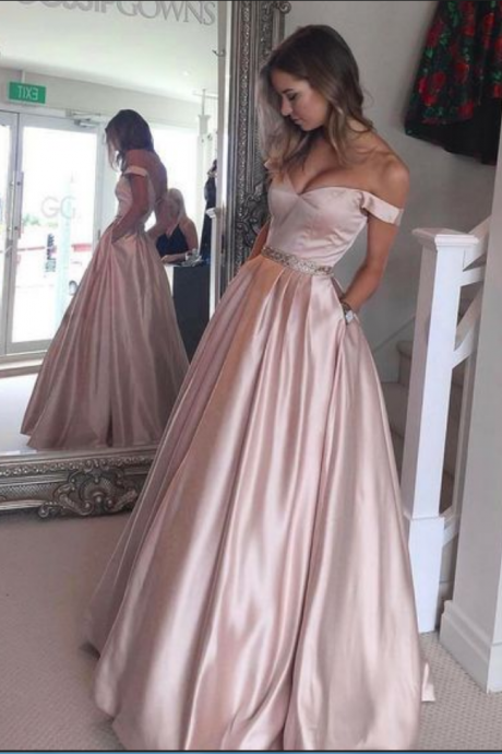 Pink Off The Shoulder Prom Dress, A Line Satin Formal Gown With Pockets