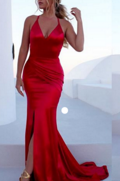 Sexy Long Sleeveless Evening Dresses Backless Formal Gowns Side Slit Party Pageant Dresses for Women