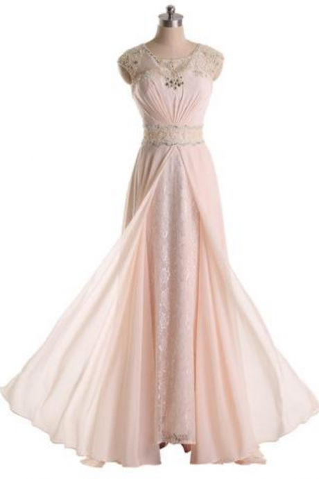 Long Prom Dresses,Jewel Chiffon and Lace Bridesmaid Party Dresses