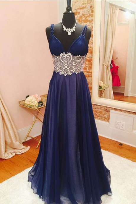 Dark blue chiffon lace beading V-neck long prom dresses, evening dresses