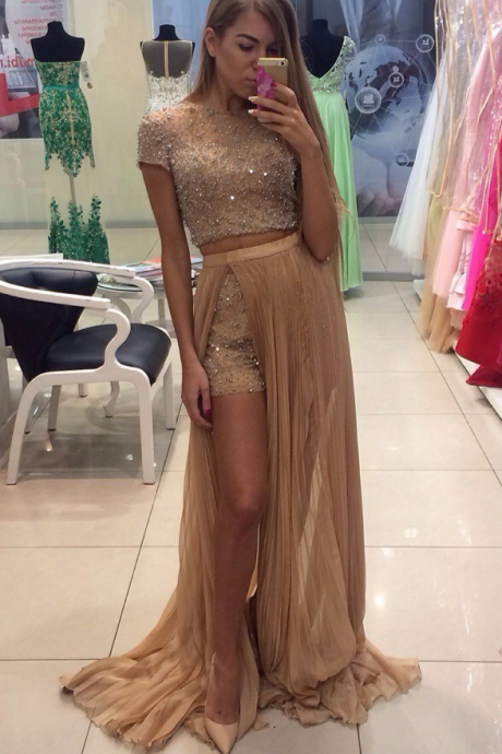 Gorgeous Beading Crystals Two Piece Prom Dresses Sexy Short Pants With Detachable Skirt Short Sleeve Prom Gowns