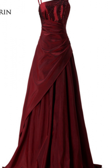 Evening Dresses Asymmetrical Burgundy Beaded Long Elegant Evening Prom Wedding Party Gowns Taffeta Formal Dresses
