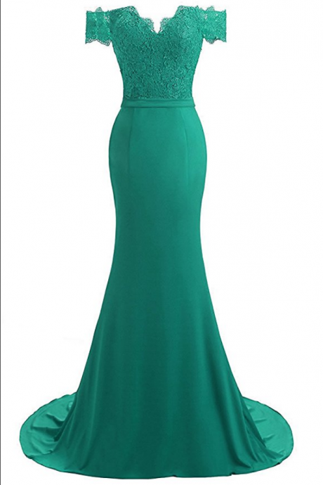 Women's V-Neck Mermaid Evening Party Gowns Appliques Formal Prom Dresses Long