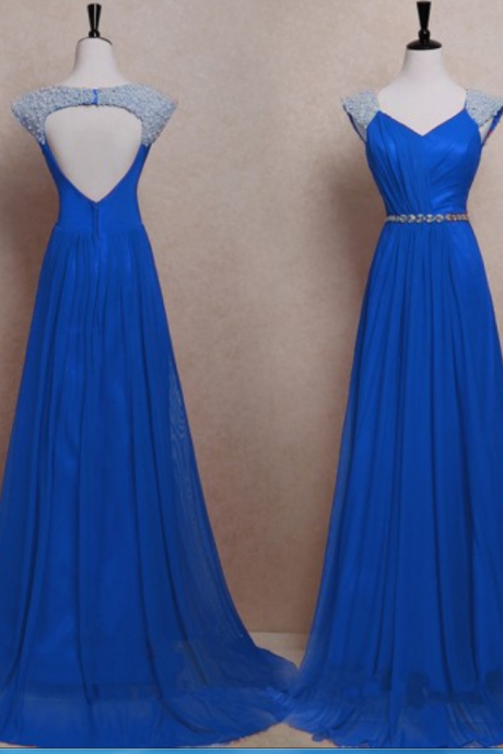 Open Back A-line Chiffon Prom Dresses Straps Beaded Floor Length Women Dresses