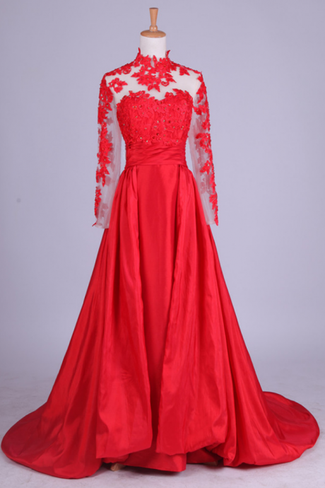 Beautiful Red Long Sleeves Floor Length Party Dresses, Red Formal Gowns, Evening Dresses