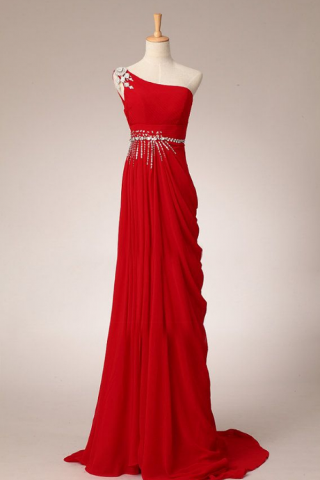 Pretty Elegant Red One-Shoulder Prom Dress with Beadings, Simple Red Prom Dresses, Prom Gowns, Evening Dresses