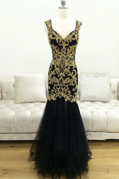 Black Mermaid Prom Dress with Gold Lace