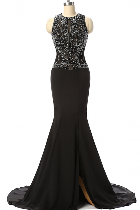 Vintage Black Arabic Evening Dresses Mermaid Beaded Prom Dresses Long Formal Dress Ever Pretty