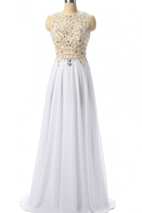 White Beading Prom Dresses,Beaded Prom Dress ,Formal Party Dress,Evening Gowns,Vestido De Festa