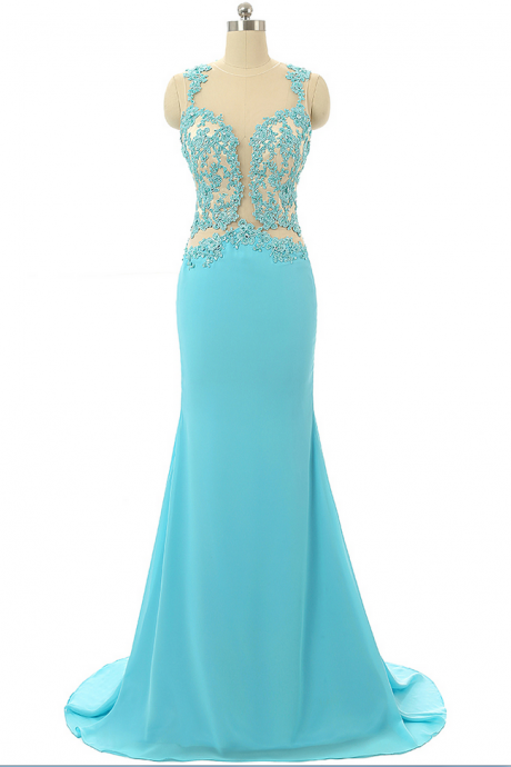 Turquoise Party Dress,Mermaid Evening Dresses,Lace Prom Dresses,Formal Party Gowns