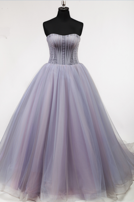 A line Off Shoulder Pleat Lace Up Back Court Train Elegant Lady Lovely Light Purple Full Boning Bodice Prom Dress