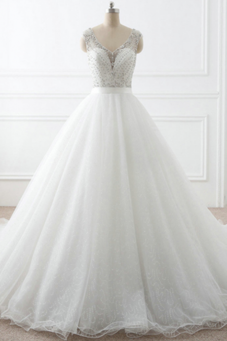 Beaded Embellished Plunge V Sleeveless Tulle Wedding Gown Featuring Court Train