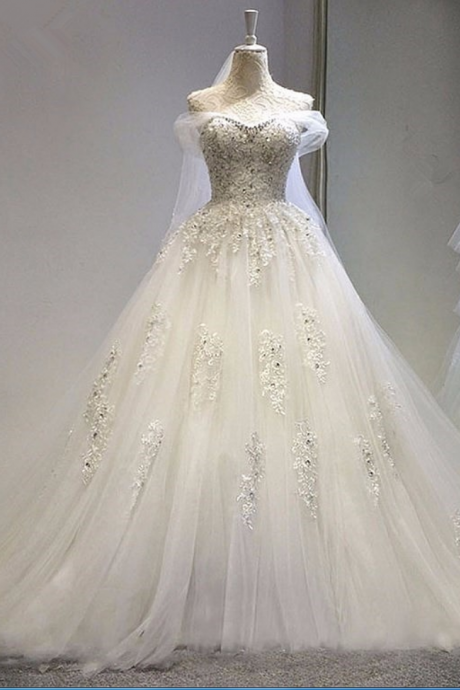 Real New Ivory boho Wedding dress vestidos de novia ball gown beading crystal wedding dresses princess bridal gow