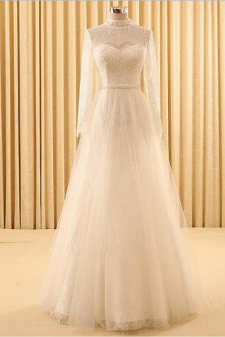 Long Sleeves Hollow Lace Wedding Dress New Style Pearls A-Line Simple Bride Dress Robe