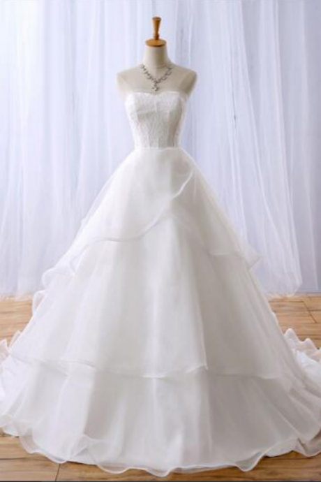 Strapless Sweetheart A-line Wedding Dress with Curled Hemline and Sweep Train