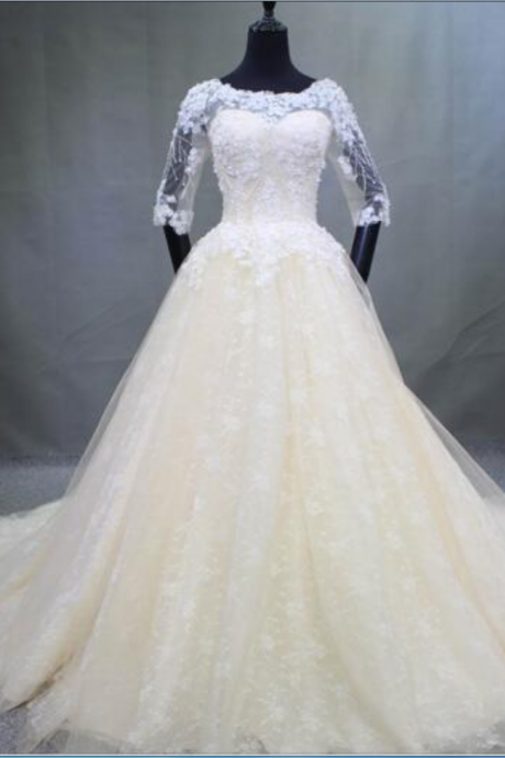Real Photo Sheer Neckline Chapel Train Wedding Dress Illusion Graceful Half of Sleeve Novia Back zip Bridal Gown