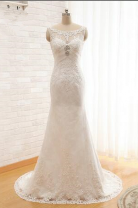 Real Picture Scoop With Appliques And Crystal Beading Long Mermaid Wedding Dresses Bridal Gown