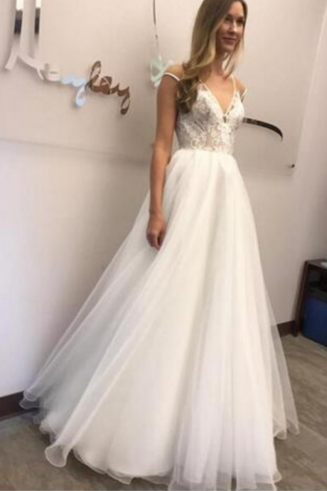 Elegant Wedding Dress,Sheer V Neckline Wedding Dresses,Covered Button Lace Wedding Dress,with Bow Capped Floor Train A-line Bridal Gowns