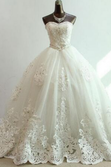A-Line Wedding Dress, Lace Wedding Dresses, Lace-Up Wedding Dresses, Ivory Wedding Dresses, Custom Wedding Dresses