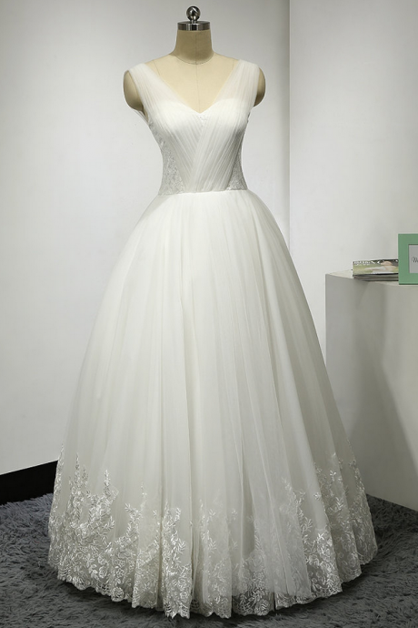 Sexy A-Line Wedding Dress, Appliques Lace Wedding Dresses,Tulle Bridal Dresses,New Arrival Formal Dresses Party Gowns