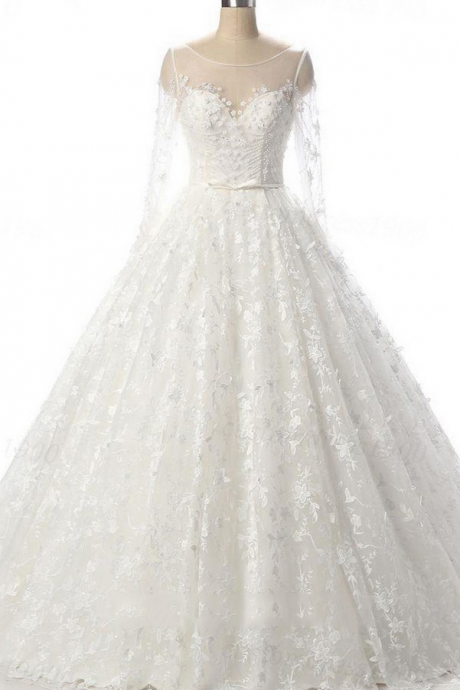 Ball Gown Scoop Neck Tulle Court Train with Beading Wedding Dresses