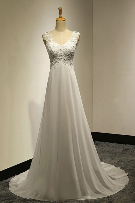Affordable Empire Wedding Dresses with Cowl Back, Illusion Neck Bridal gowns with Lace Appliques, Chiffon Ivory Wedding Dresses with Sweep Train