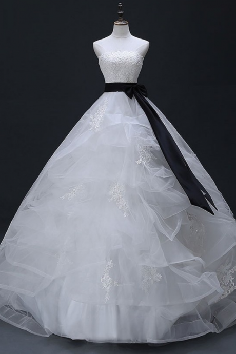 Charming White Lace Tulle with Black Bowknot Belt Ball Gown,Hot Sale Wedding Dress Bridal Gowns Formal Dress