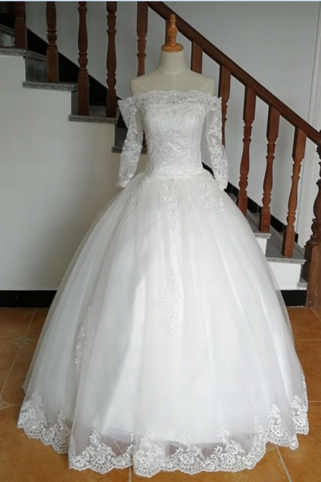 A-Line Long Sleeve Romantic Wedding Dress,Tulle Lace-up Back Lace Bridal Gown