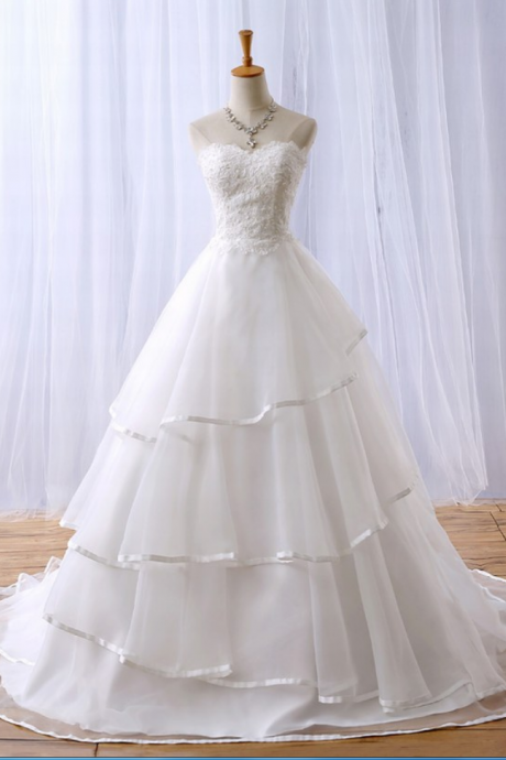 New Charming Sleeveless Strapless Sweetheart A-Line Lace Beads Wedding Dress