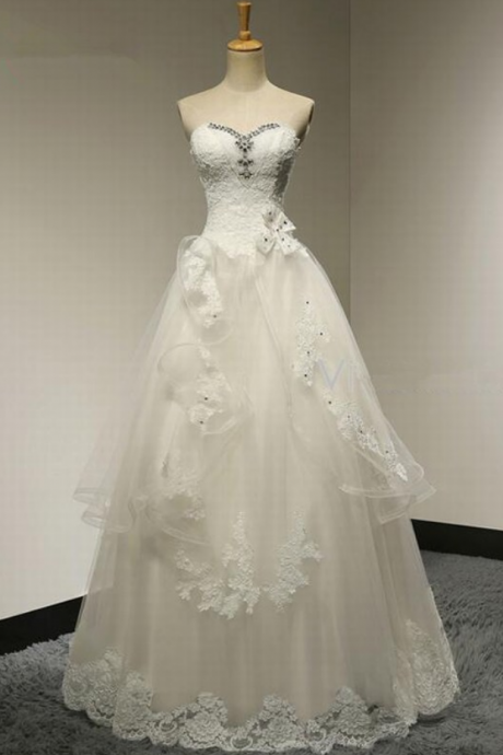 New Charming Sleeveless Strapless Sweetheart A-Line Lace Wedding Dress Bridal Dress