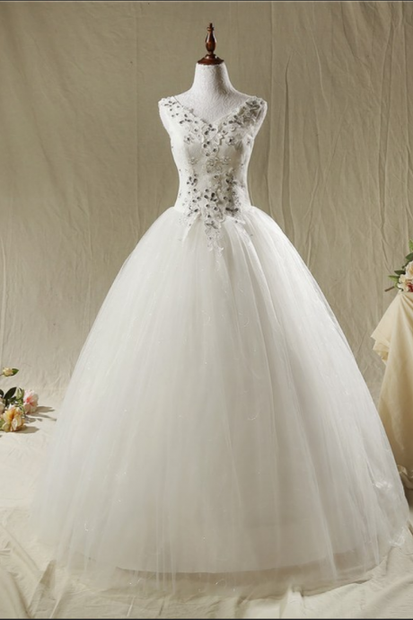 Fashion Crystal V Collar Both Shoulders Lace Wedding Dress Bridal dress