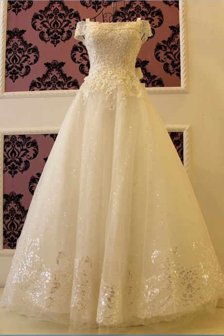 Fashion A-line wedding dress Elegant Lace Beaded Bridal Dresses
