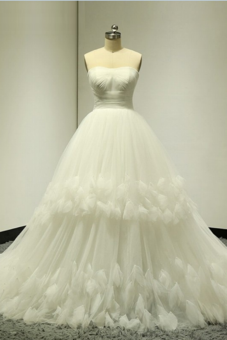 White/ivory Sleeveless Strapless Sweetheart Ball Gown Lace Up Back Wedding Dresses