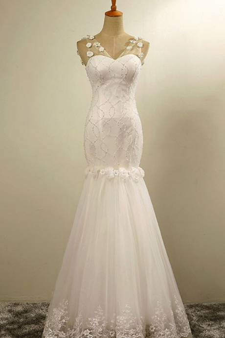 Fashion Dropped Floor Length High Quality Beaded Mermaid PromWedding Dress