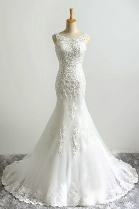 Both shoulders Spoon Collar Sexy Charming Mermaid Lace Wedding Dress