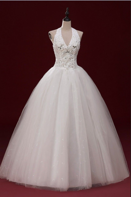 New Lace Bridal Gown sequins Wedding Dress ball gown