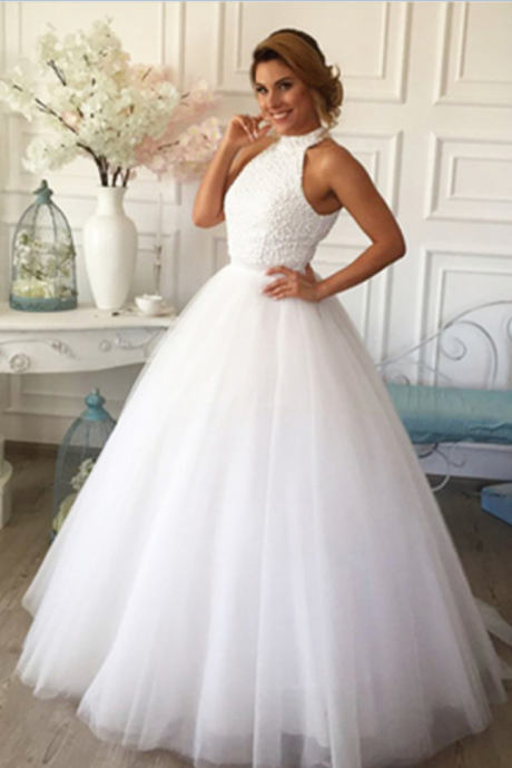 Pearl Embellished High Halter Neck Floor Length Tulle Wedding Gown Featuring Keyhole Back